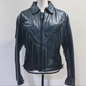 Vtg 80's Fringe Biker Jacket